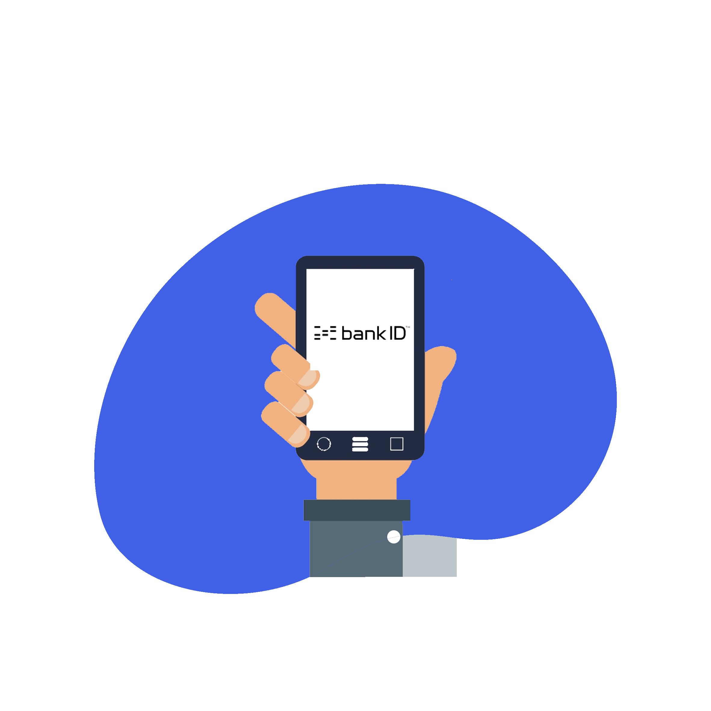 ikon som viser en mobil som viser BankID logo