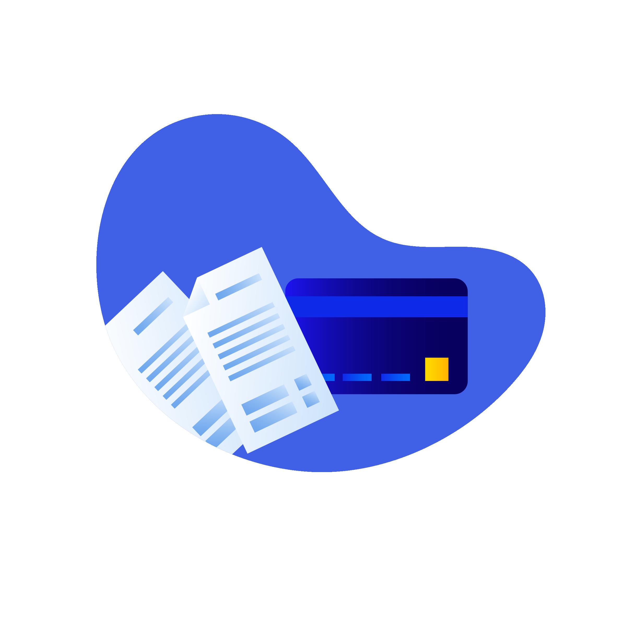 ikon som viser regninger og kredittkort